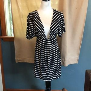 Dresses & Skirts - Black and white striped beach cover up.